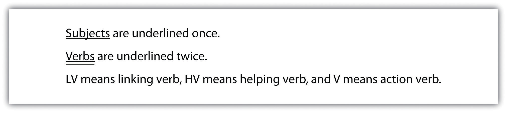 lesson parts of sentence subjects are underlined once verbs are underlined twice lv means linking verb hv