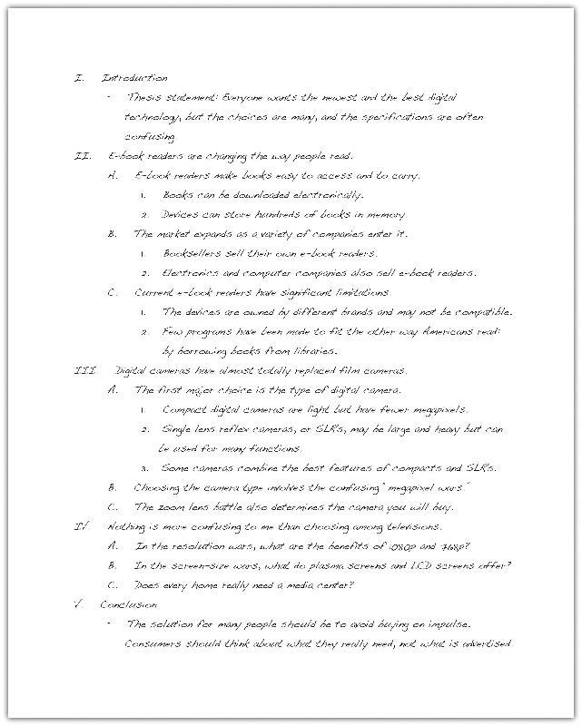 essay outline roman numerals outline